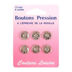 Boutons pression 13 mm nickelés X6