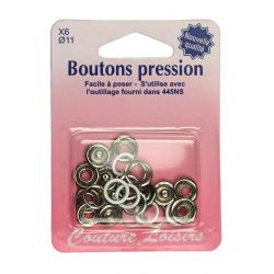 Boutons pression 11 mm col. Blanc x6