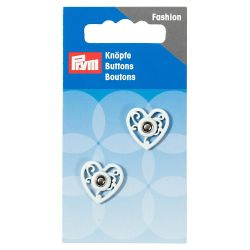 Boutons pression coudre coeur 18 mm blanc