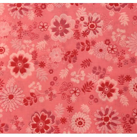 Coton patchwork fleur Hawaïenne rose
