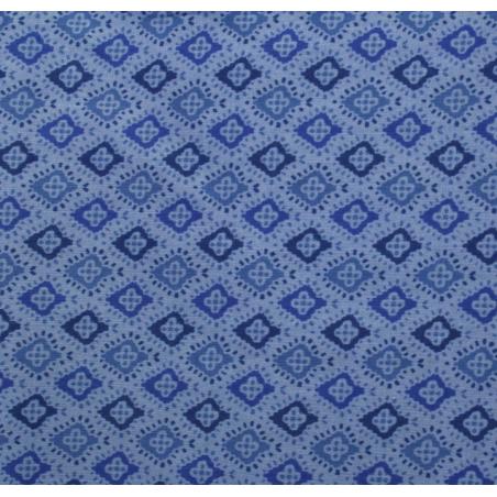 Coton patchwork fleur Africaine bleue