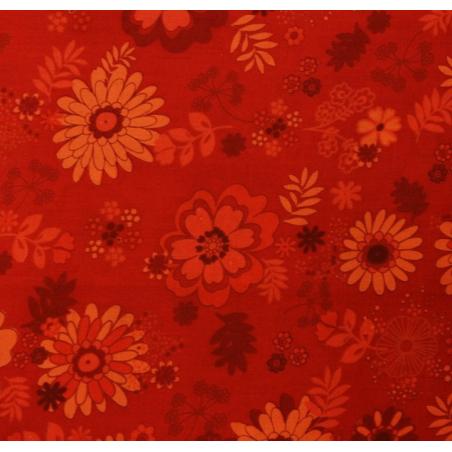 Coton patchwork fleur Hawaïenne rouge
