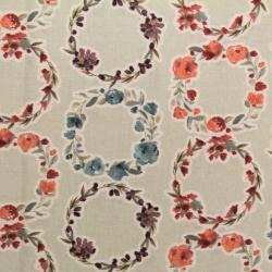 Coton imprimé motifs couronnes de fleurs