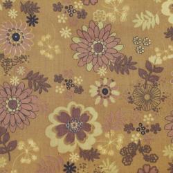 Coton patchwork fleur Hawaïenne marron
