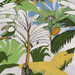 Coton imprimé motifs perroquets