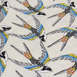 Coton imprimé motifs hirondelles