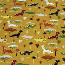 Coton imprimé motifs dinosaures