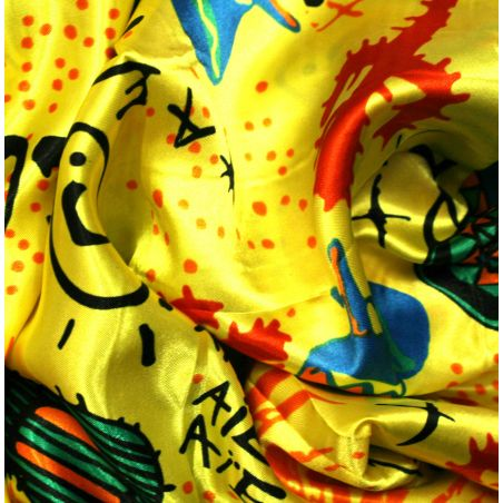 Satin polyester mexicains sur fond jaune