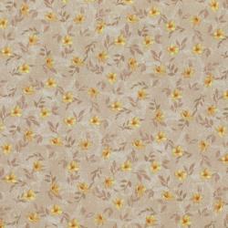 Coton patchwork fleur de jasmin jaune et beige