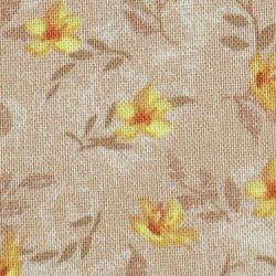Coton patchwork fleur de jasmin jaune et beige zoom