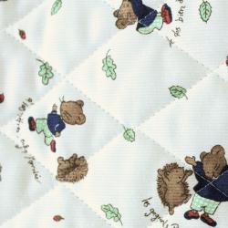 Tissus matelassé imprimé ours et hérissons